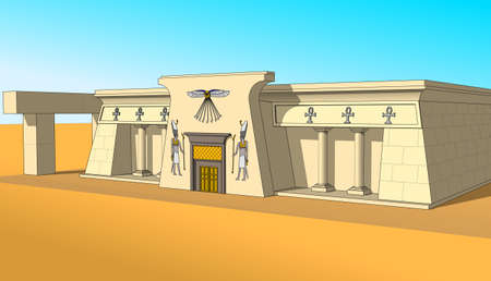 cheops: Building, built in the Egyptian style. Object, isolate. Right side view. Illustration