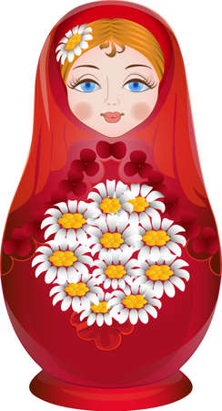 russian ethnicity: Russian nesting doll painted with flowers in their hands