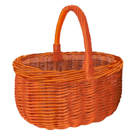 bast basket: Wicker shopping basket isolated object