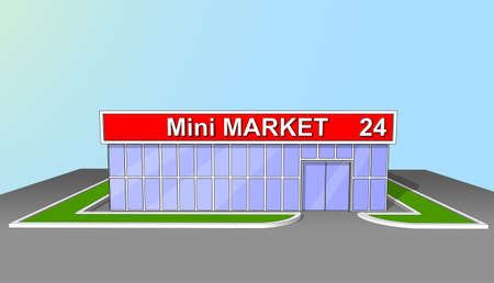 The market shop facade retail trade 24 hours. Background, poster or icon. Illustration