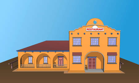 veranda: Restaurant bar cafe building in orange. Icon, background or isolated. Front view.