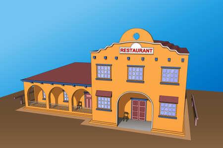 veranda: Restaurant bar cafe building in orange. Icon, background or isolated.