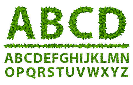 Letter a alphabet of green leaves on the theme of spring and nature.