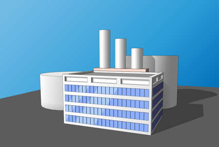 energy suppliers: Building of manufactory, factory, or plant in the style of the icons or background.