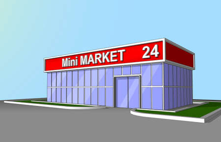 The market shop facade retail trade 24 hours. Background, poster or icon. 일러스트