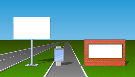 acquaintance: Billboard advertising board poster placard front view set Illustration
