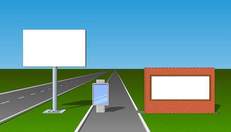 advertising board: Billboard advertising board poster placard front view set Illustration