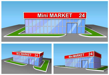 trading floor: The market shop facade retail trade 24 hours. Background, poster or icon. Stock Photo