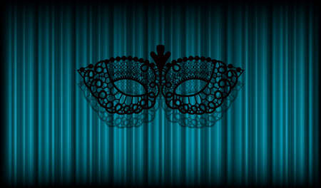 intrigue: Black lace mask on curtain background Illustration