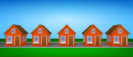 Icons and cliparts set of houses made of brick. Elements of the city. Illustration