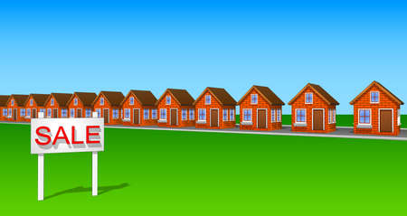 ecovillage: Icons and cliparts set of houses made of brick. Elements of the city. Illustration