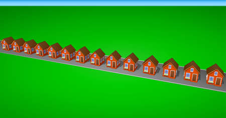 ecovillage: Icons and cliparts set of houses made of brick. Elements of the city. Right side view. Illustration