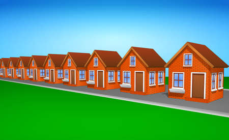 Icons and cliparts set of houses made of brick. Elements of the city. Right side view. Ilustrace