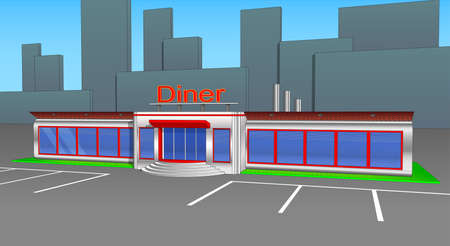 Diner cafe icons and cliparts right side view. Elements of the city.