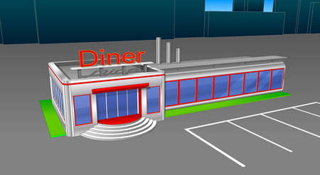 Diner cafe icons and cliparts. Elements of the city.
