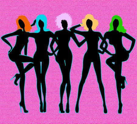 leggy: Girls black silhouettes on pink