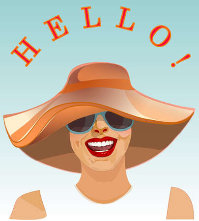 welcome smile: Young woman smile Hello Welcome