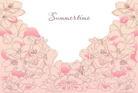 annotation: Summer floral pink background horizontal Illustration