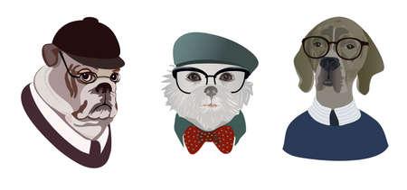likeness: Set dogs in glasses portrait
