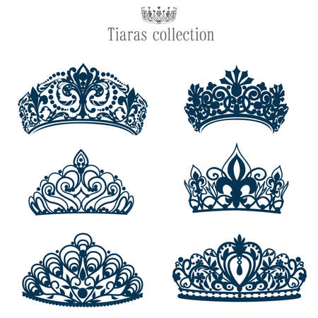 prestige: Isolated collection silhouettes tiaras and crowns