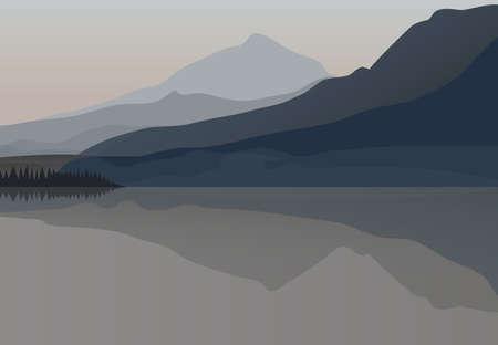 早朝の暗い寒い北山