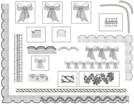 frill: Set of brushes borders and patterns Illustration