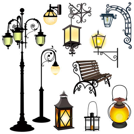 cast iron: Set of different lanterns isolated objects and bench Illustration