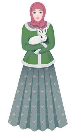 伝統的な服でロシアの女の子の肖像画  イラスト・ベクター素材