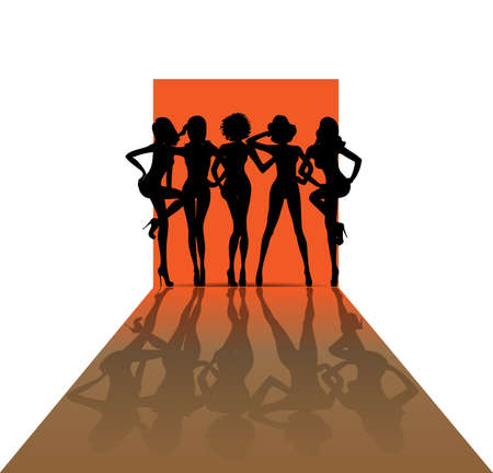 Group of girls combined silhouette on the catwalk fashion show, orange