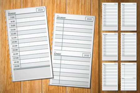 Planner plans weekly diary paper page time vector social 2020. Weekly planner for efficiency use of time.