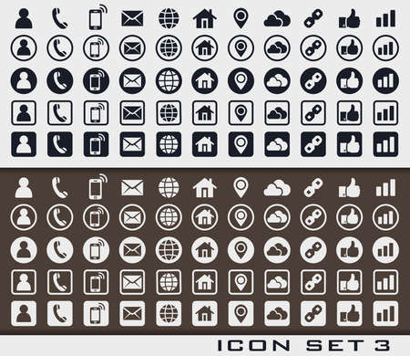 Set of icons 3 in print style for web design or business card. Sign card vc social phone media network.
