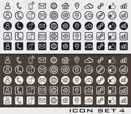 Set of icons 4 in print style for web design or business card. Sign card vc social phone media network.