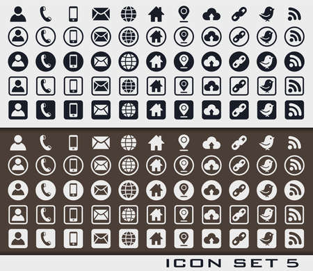 Set of icons 5 in print style for web design or business card. Sign card vc social phone media network.