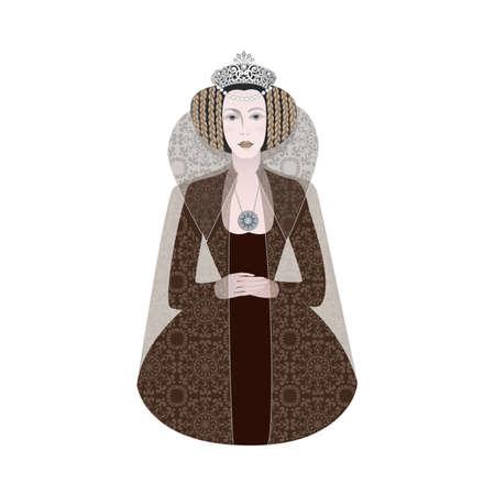 Cartoon Queen crown isolated