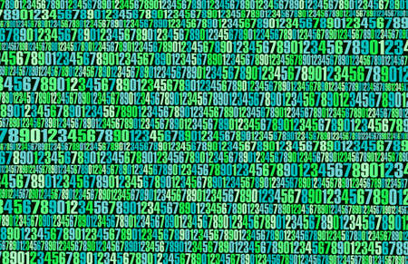 Background green multicolor numbers abstraction on the topic of the Internet and the matrix. Иллюстрация