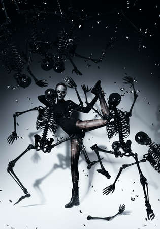 bizzare woman dancing with skeletons photo