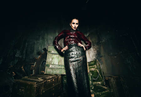 claret: sexy woman in leather skirt and claret shirt