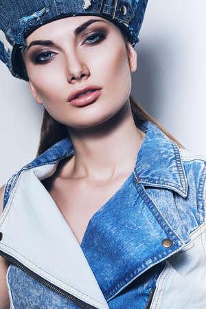waistcoat: sexy woman in denim waistcoat and blue hat