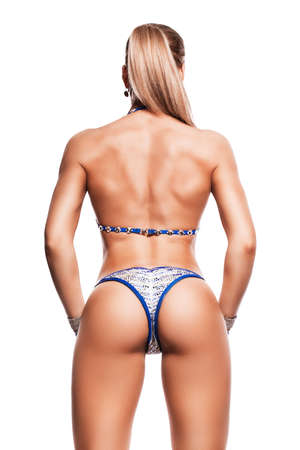 sexy woman with sporty buttocks on white background photo