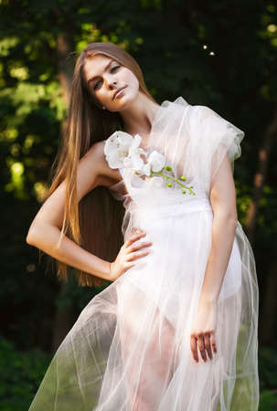 transparent dress: sensual woman in transparent dress on sunlight