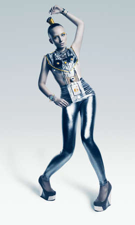 bizarre alien woman in silver costume photo