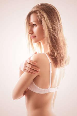 bra model: portrait of sensual blond woman in bra Stock Photo
