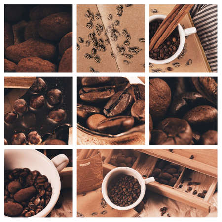 collage of cup of coffee and chocolate truffles photo