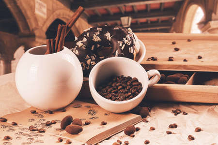 cup of coffee and douhnut at summer travelling photo