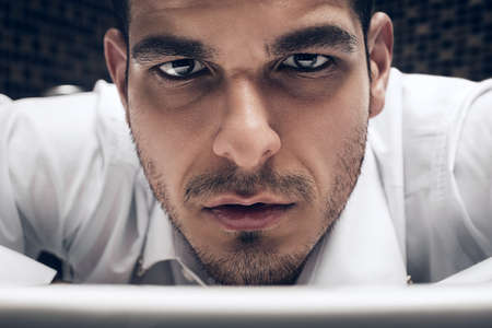 brown  eyed: handsome brown eyed man in shirt Stock Photo