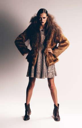 manteau de fourrure: femme s�rieuse dans le manteau de fourrure brune Banque d'images