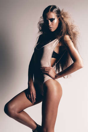 hot legs: woman with hot legs and long hair