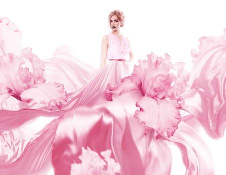 sensuel: femme sensuelle avec le vol robe rose Banque d'images