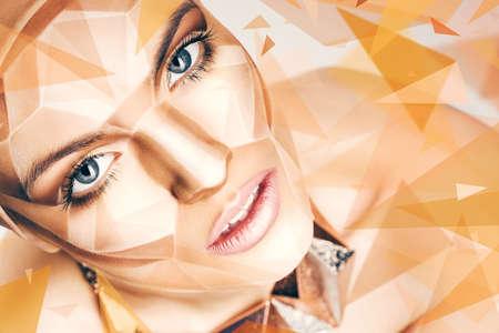 bodyart: beautiful woman with bodyart on face and geometric shapes around