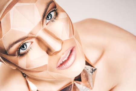bodyart: beautiful woman with bodyart on face